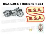 BSA L30-5 349cc 1930 Transfer Decal Set